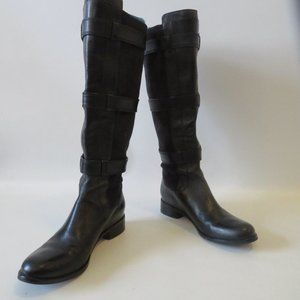 COLE HAAN BLACK MIXED MEDIA LEATHER BOOTS 6.5 *